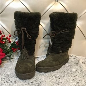 J.Crew Lace up Shearling Lined Suede Boots Sz 7